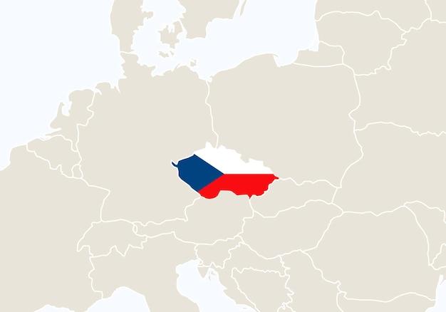 チェコ共和国の地図が強調表示されたヨーロッパ。ベクトルイラスト。