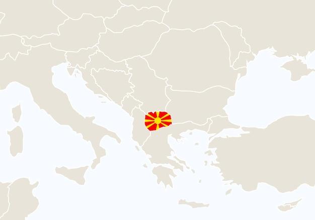 강조 표시된 마케도니아 지도가 있는 유럽. 벡터 일러스트 레이 션.