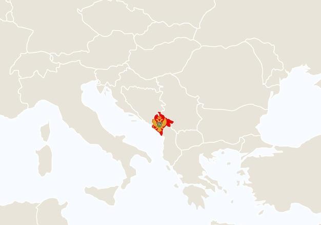 モンテネグロの地図が強調表示されたヨーロッパ。ベクトルイラスト。