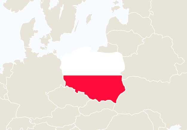 강조 표시 된 폴란드 지도와 유럽입니다. 벡터 일러스트 레이 션.