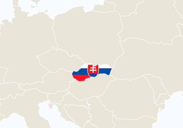 강조 표시된 슬로바키아 지도가 있는 유럽. 벡터 일러스트 레이 션.