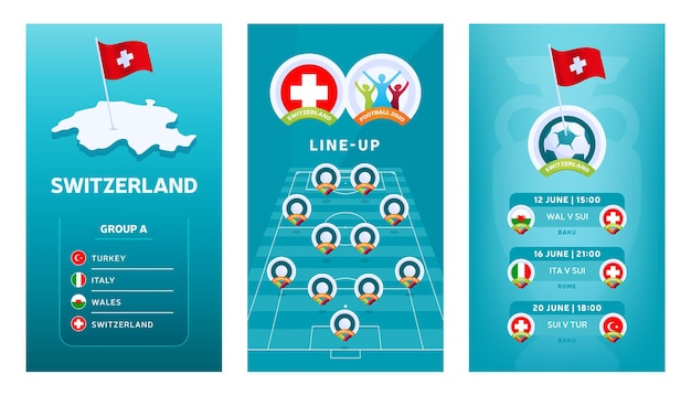 소셜 미디어에 대한 유럽 2020 축구 수직 배너 세트