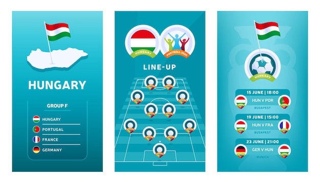 European 2020 football vertical banner set for social media