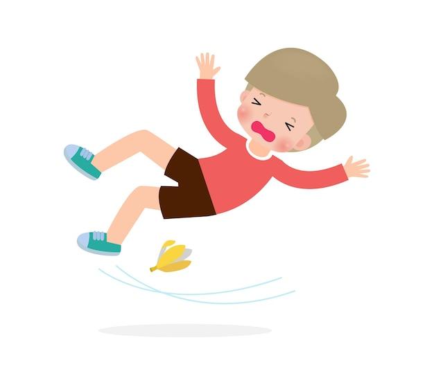 European children slipping on banana peel vector illustration isolated on white background