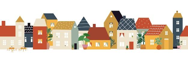 유럽 도시 거리 패턴입니다. 레스토랑 카페 지구, 집 외관 배너입니다. 평평한 동네, 귀여운 작은 건물과 식물, 집이나 가게 앞 전망 삽화. 오래 된 도시 벡터 건물 도시