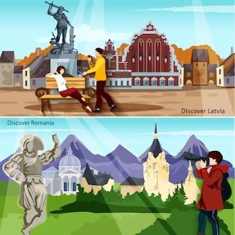 Set di banner di paesi europei