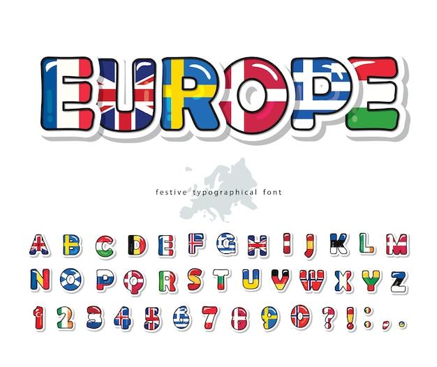 ヨーロッパ諸国は漫画のフォントにフラグを立てます。コンセプトデザインのための創造的なアルファベット。