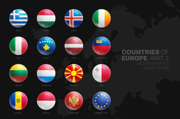 European countries flags glossy round icons set isolated on black