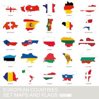 European countries set, maps and flags, part 1