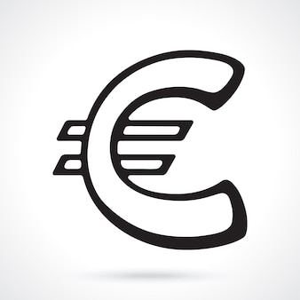 European euro sign vector illustration the symbol of world currencies outline vector illustration