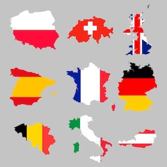 European flag maps set