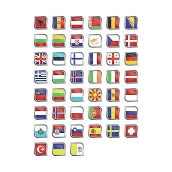Raccolta di bandiere europee Vettore gratuito