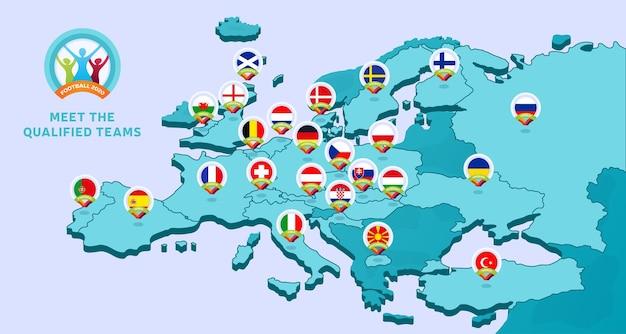 유럽의지도와 함께 유럽 축구 선수권 대회