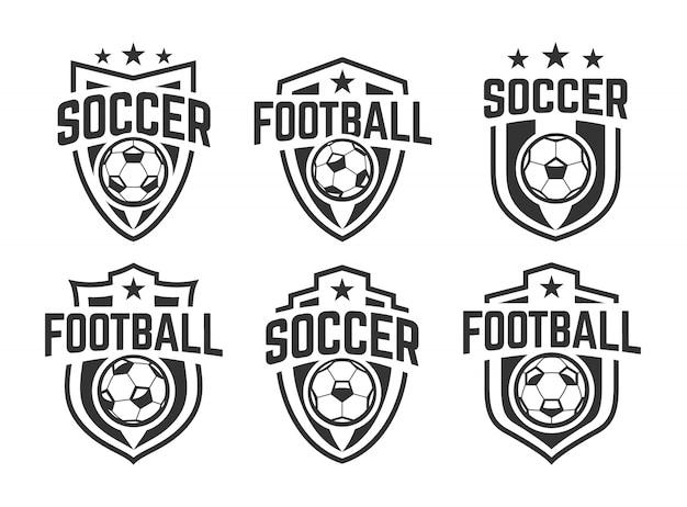 Набор векторных европейских футбольных классических эмблем. черное и белое.