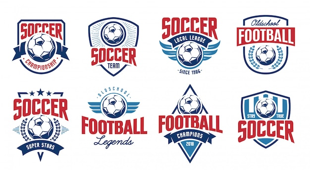 European football classic emblems vector set.