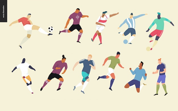 European football, soccer players set