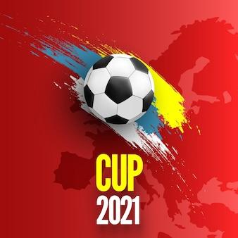 ヨーロッパのサッカートーナメントサッカーボールとカラフルなペイントストロークと赤い背景
