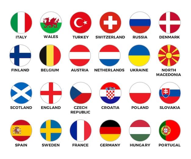 European football tournament set of national flags of football teams