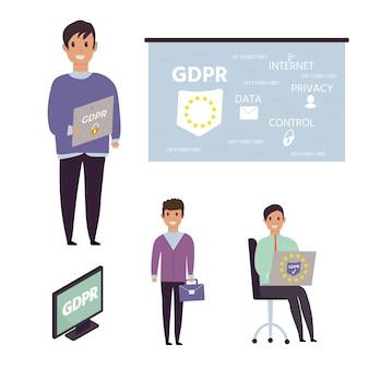 Европейский общий регламент по защите данных. концепция gdpr с характером. общие правила и идеи защиты и контроля персональных данных. векторная иллюстрация.