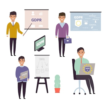European general data protection regulation. gdpr concept with character. general rules and ideas of protection and control personal data. vector illustration.