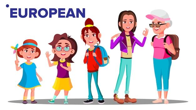 European generation female people