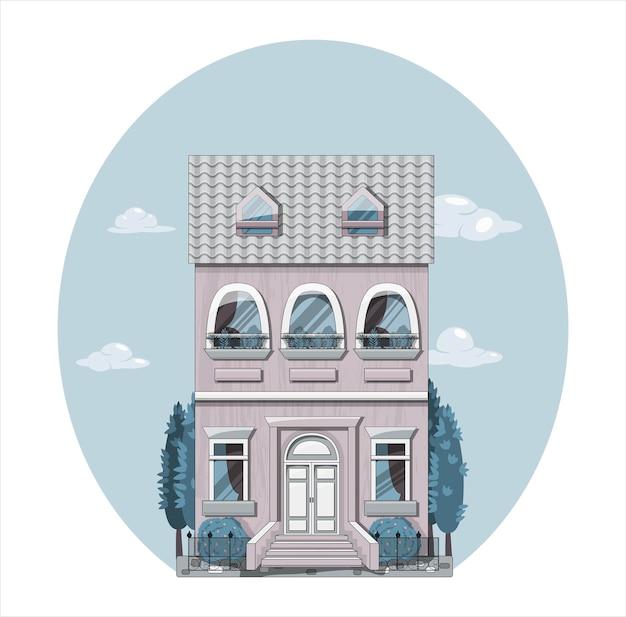 Европейский дом фасад векторные иллюстрации плоский дизайн мультяшном стиле ретро экстерьер