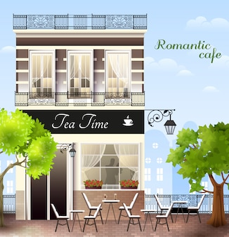European house with cafe illustration