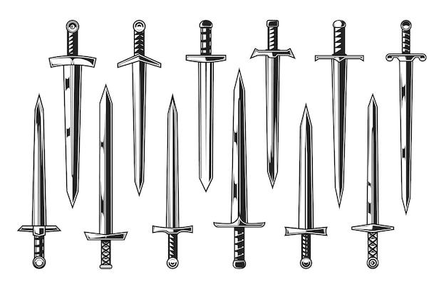 유럽 기사 중세 칼, 문장입니다. 직선 칼, 단검, 칼, 브로드소드로 설정된 중세 전사의 벡터 무기, 양날 칼날과 화려한 칼자루가 있는 나이틀리 무장 무기