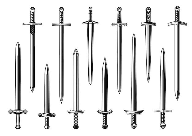 중세 군대 전사의 무기와 유럽 기사 직선 칼 벡터 디자인. 양날 블레이드, 힐트, 가드 및 포멜, 문신 및 문장 디자인이 있는 격리된 단검, 칼 또는 브로드소드