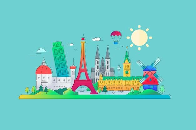 ヨーロッパのランドマークフラットデザイン
