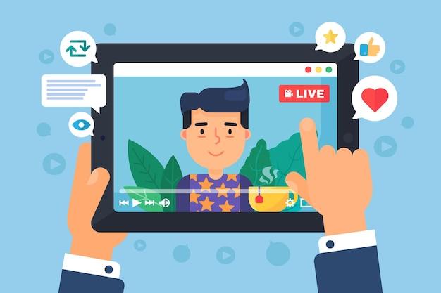 ヨーロッパの男性のウェブストリーマーの概念図。タブレットディスプレイのセミフラット漫画の描画でのオンライン放送。ソーシャルライブストリームを見ている男。