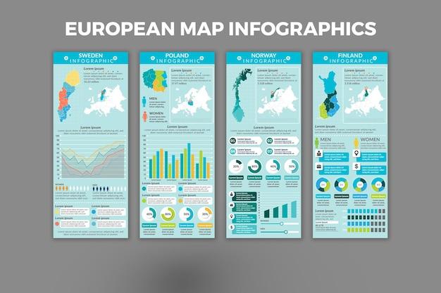 ヨーロッパの地図インフォグラフィックテンプレートデザイン