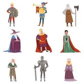 ヨーロッパの中世の歴史的な時代の要素イラスト