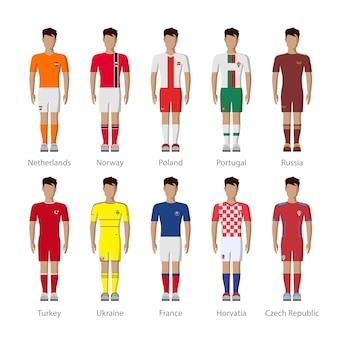 Insieme dell'icona del modello uniforme del giocatore fittizio della squadra di calcio nazionale europea di calcio.
