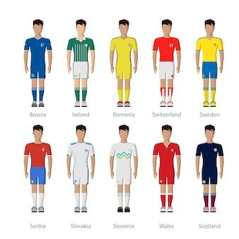 ヨーロッパの全国サッカーサッカーチームダミープレーヤーユニフォームテンプレートアイコンセット。
