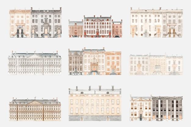 Европейское старое здание вектор рисованной иллюстрации набор