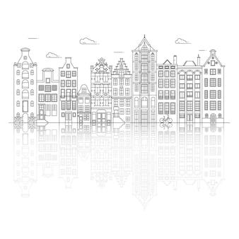 유럽의 오래된 스타일의 집. 네덜란드의 운하 근처에 늘어선 전형적인 네덜란드 운하 건물.