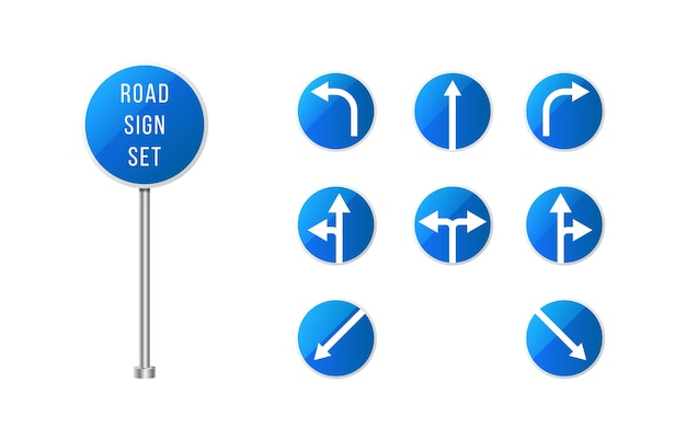 European road signs set . blue rounded road sign set with arrows . pointer signs set.