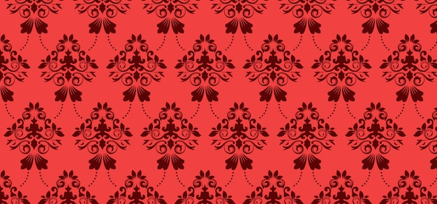 European seamless pattern for design, red banner