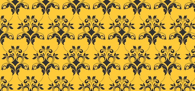 European seamless pattern for design, yellow banner