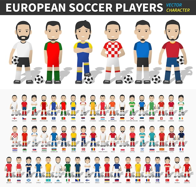 European soccer cup tournament 2020 and 2021 . set of football player with jersey and national flag .  cartoon character flat design . white isolated background . vector .