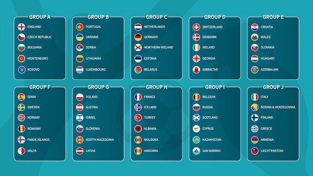 European soccer tournament qualifying draw 2020 . group of international football teams with flat circle country flag .  .