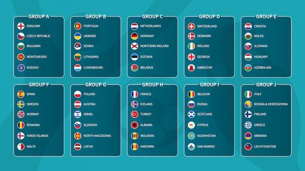ヨーロッパサッカートーナメント予選抽選2020。フラットサークル国旗と国際サッカーチームのグループ。 。