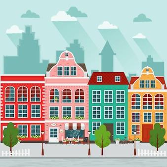 ヨーロッパの町。平らな。古い家。