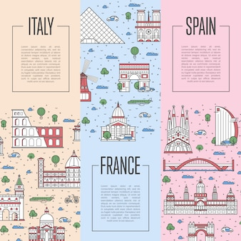 European travel tour posters in linear style