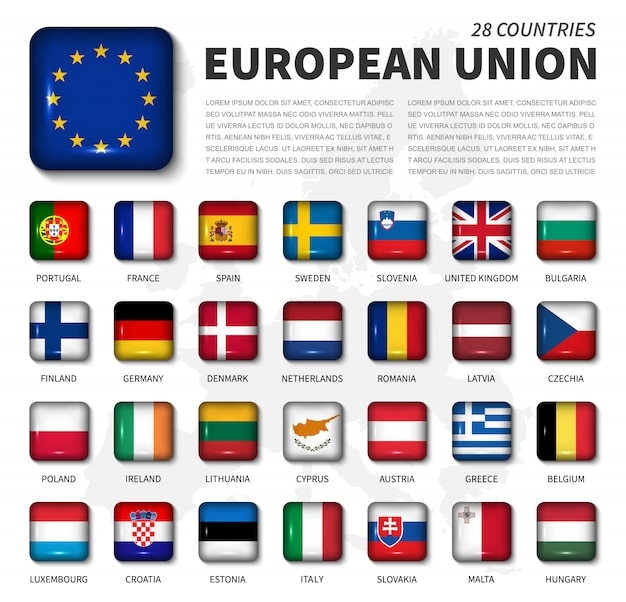欧州連合(eu)および加盟国の旗。 28カ国の協会。丸い角の光沢のある正方形ボタンとヨーロッパの地図の背景。ベクター