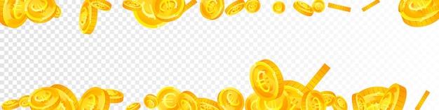 欧州連合のユーロ硬貨が下落。美しく散らばったeurコイン。ヨーロッパのお金。感情的な大当たり、富または成功の概念。ベクトルイラスト。