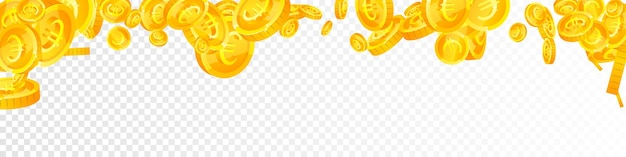 欧州連合のユーロ硬貨が下落。古典的な散在するeurコイン。ヨーロッパのお金。魅力的な大当たり、富または成功の概念。ベクトルイラスト。