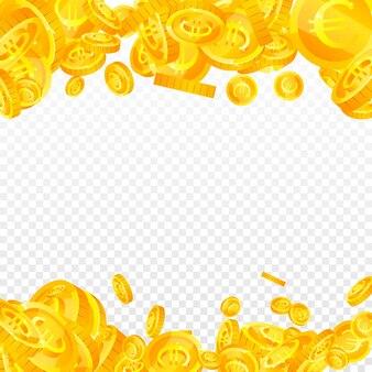 欧州連合のユーロ硬貨が下落。繊細な散らばったeurコイン。ヨーロッパのお金。きちんとした大当たり、富または成功の概念。ベクトルイラスト。