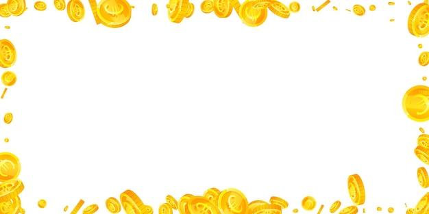 Монеты евро европейского союза падают несмываемые разбросанные монеты евро деньги европы великолепный джекпот wea ...